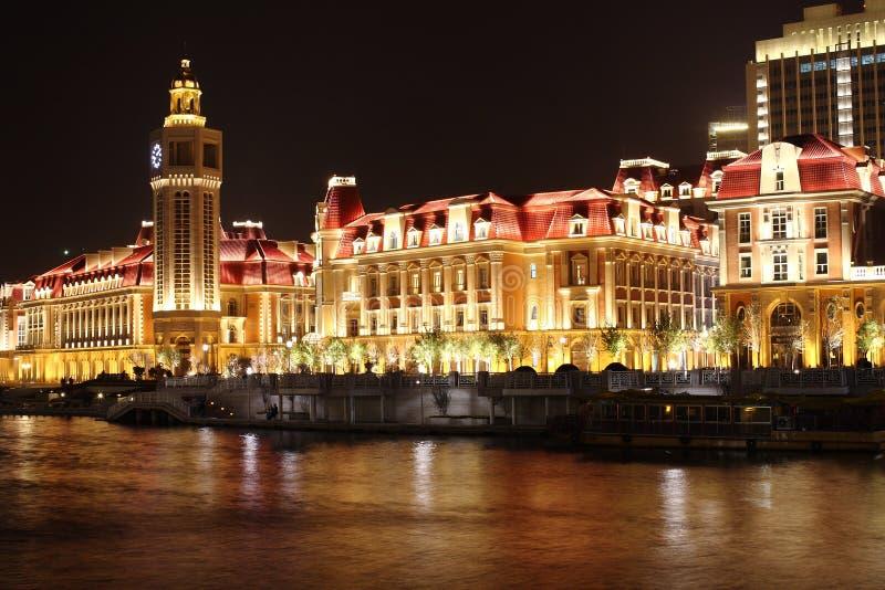 Le beau nightscape dans Tianjin photo stock