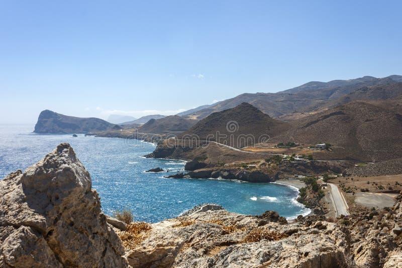 Le beau panorama chez Lendas, Crète photos libres de droits