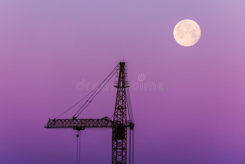 Le beau paysage de la silhouette de la grue d'isolement et de la lune sur le fond du ciel pourpre image stock