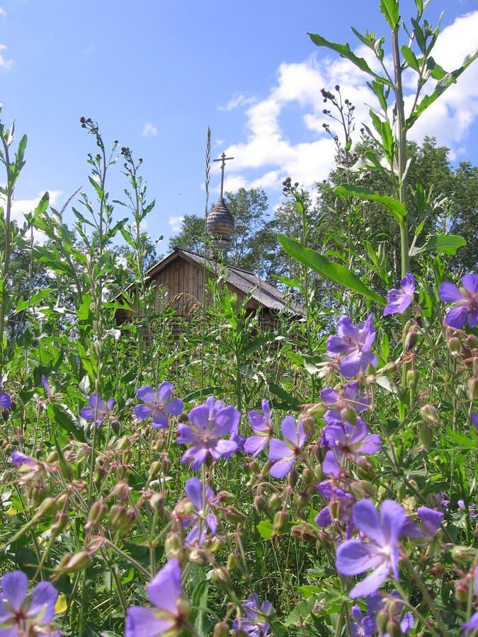 Le beau paysage sibérien Russie est un champ des fleurs et d'une église avec une croix loin images stock