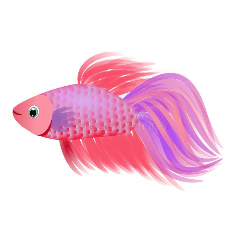 Le beau personnage de dessin animé d'animal aquatique de poissons de velours de poisson rouge avec la longue queue de ventail et  illustration de vecteur