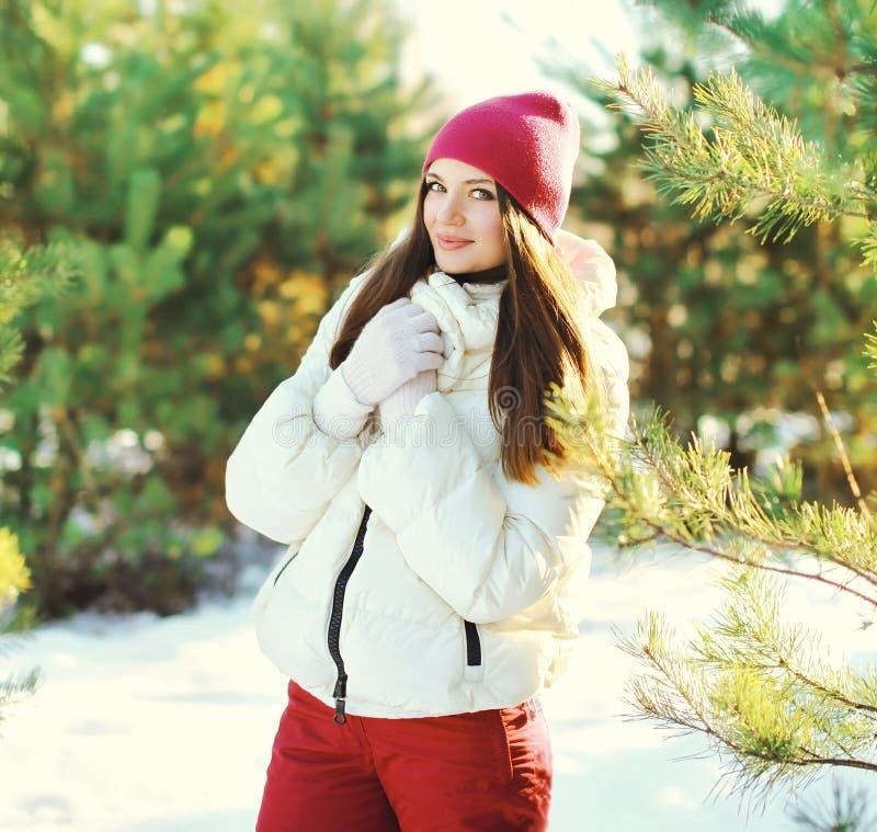 Le beau port de femme de portrait des sports vêtx en hiver image stock