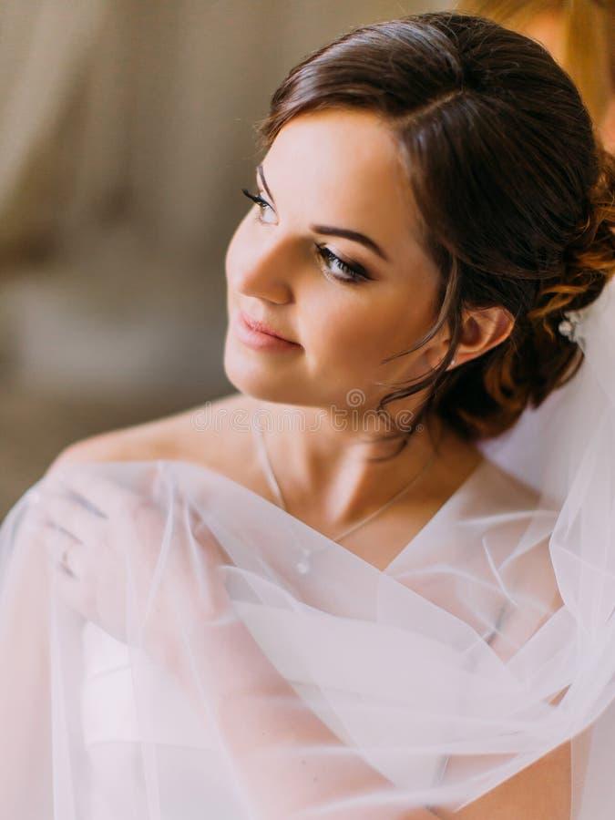 Le beau portrait de la belle jeune mariée couverte de dentelle regardant de côté photos stock