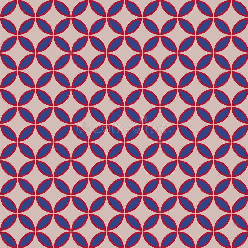 Le beau rétro modèle géométrique avec la couleur des Etats-Unis a stylisé des fleurs Illustration de vecteur illustration de vecteur