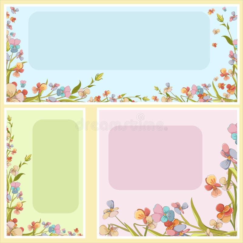 Le beau vecteur invitent des lettres, cartes, bannières réglées illustration stock