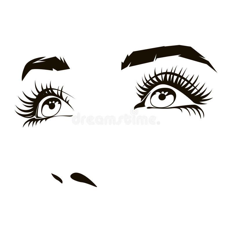 Le beau visage de femme avec les yeux femelles expressifs dirigent l'illustration illustration stock
