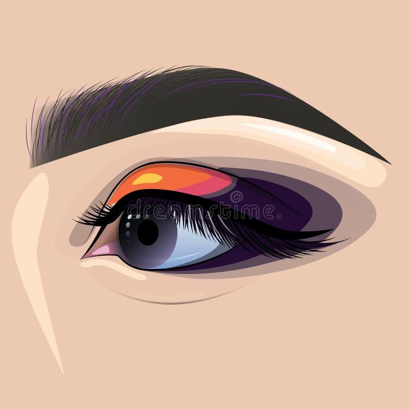 Le beaux oeil et sourcil femelles peints pour la mode conçoivent illustration de vecteur