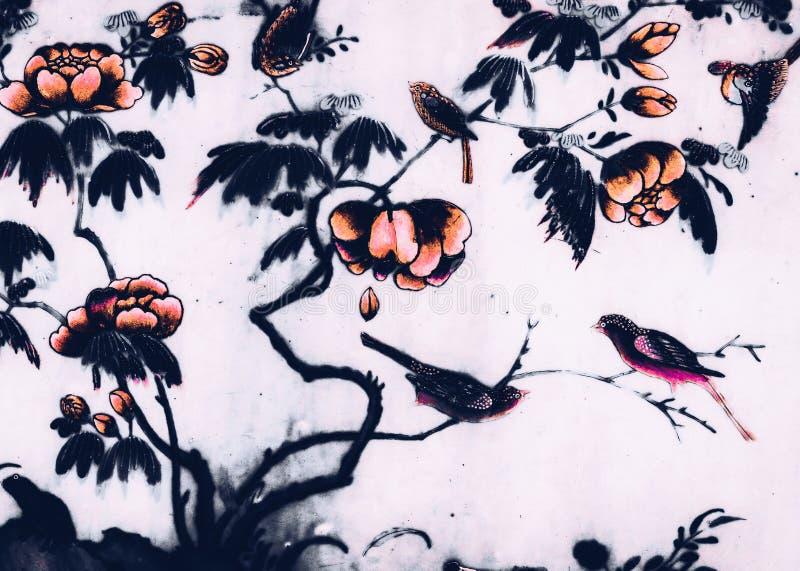 Le beaux oiseau d'arbre et peintures d'art de fleurs colorent le rose et le fond et le papier peint noirs de modèle d'illustratio illustration de vecteur