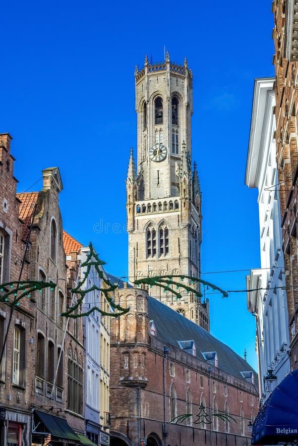 Le beffroi de Bruges image stock