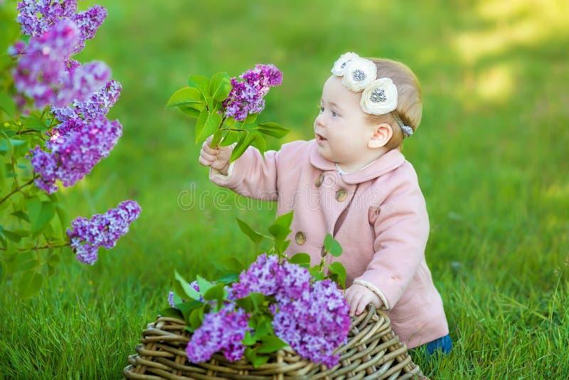 Le behandla som ett barn den åriga bärande blommakransen för flicka 1-2, hållande bukett av lila utomhus se kameran sommarvårtid royaltyfri foto