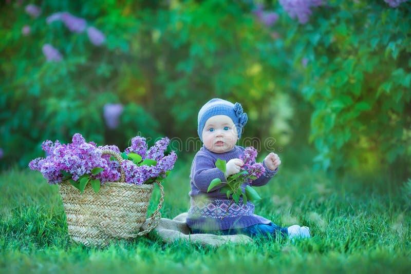 Le behandla som ett barn den åriga bärande blommakransen för flicka 1-2, hållande bukett av lila utomhus se kameran sommarvårtid royaltyfri fotografi