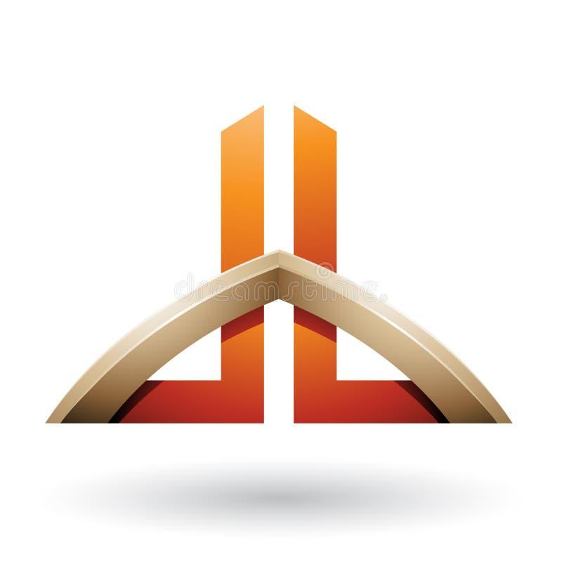 Le beige et l'orange ont jeté un pont sur les lettres comme un gratte-ciel de D et de B d'isolement sur un fond blanc illustration stock