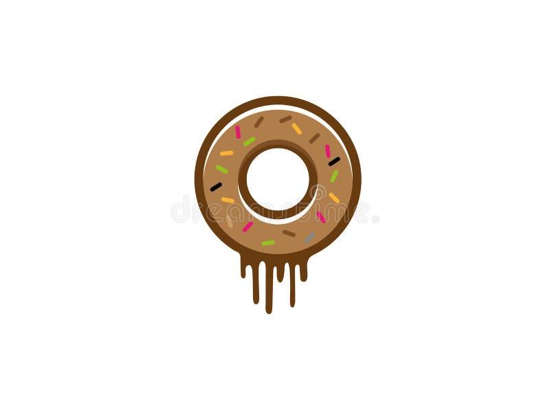 Le beignet avec du chocolat et arrose sur le dessus pour le logo illustration de vecteur