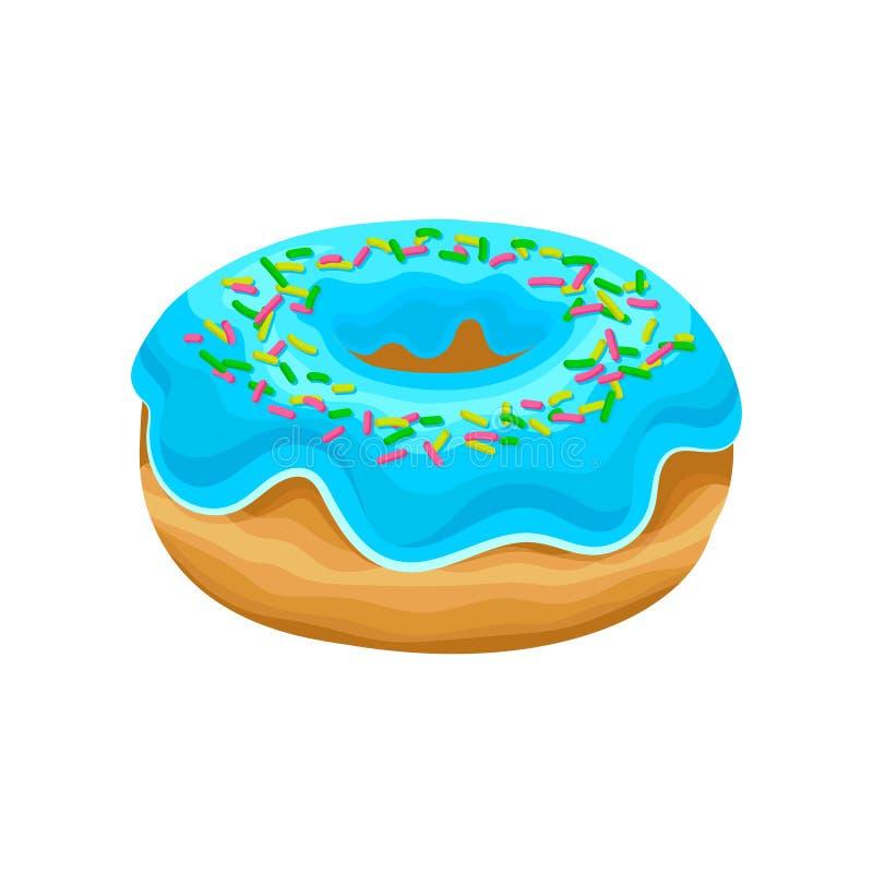 Le beignet avec le lustre bleu et multicolore doux arrose Dessert délicieux Conception plate de vecteur pour le magasin ou le caf illustration stock