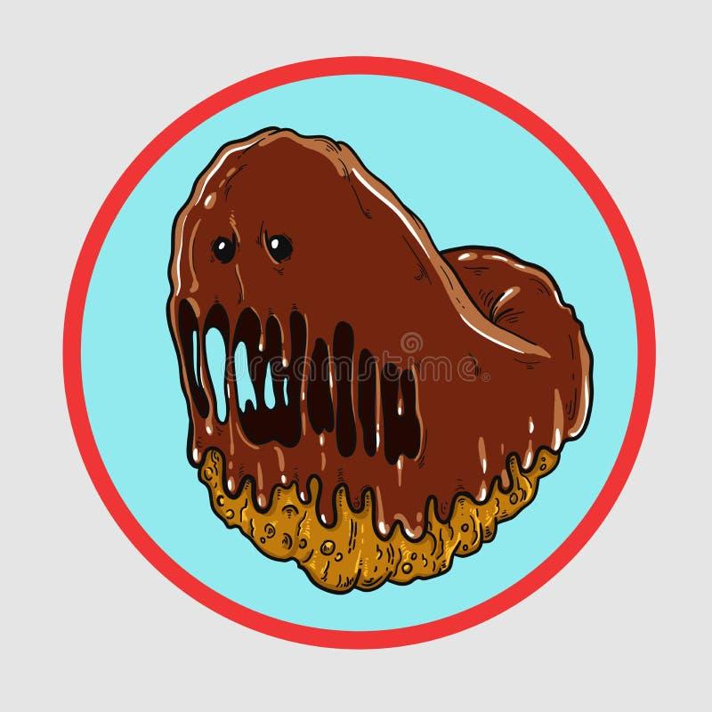 Le beignet de monstre menace votre chiffre mince fond de bleu illustration libre de droits