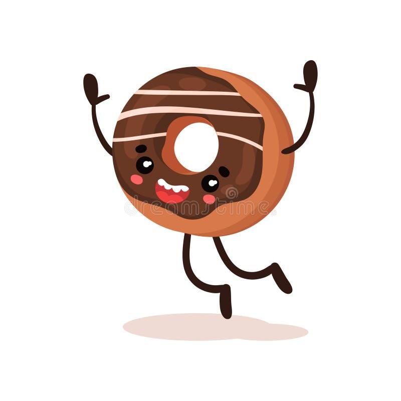 Le beignet drôle mignon a humanisé l'illustration de vecteur de personnage de dessin animé de dessert sur un fond blanc illustration de vecteur