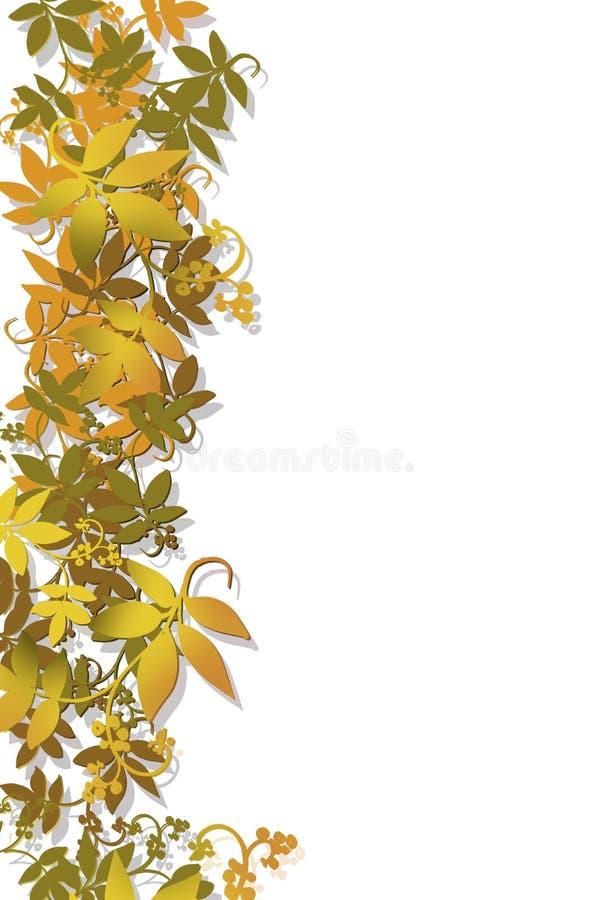 Le bel arbre d'automne part dans la couleur posée par brun gris d'or de chute dans le coin de la page, pour le fond décoratif de  illustration de vecteur
