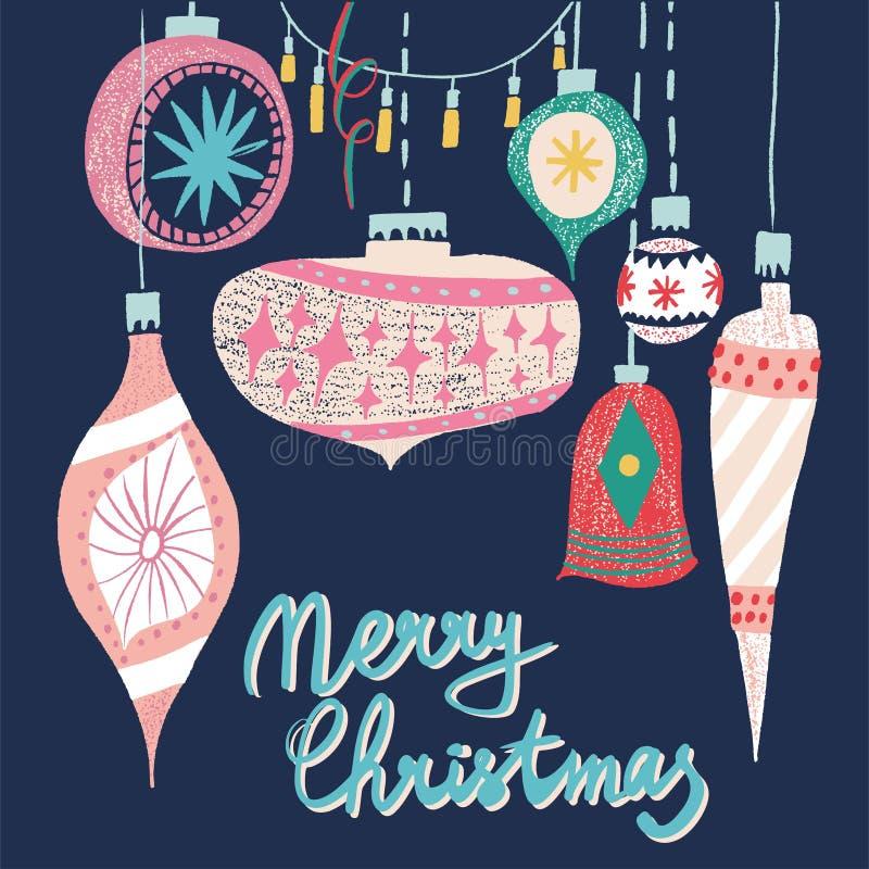 Le bel bel arbre de Noël graphique scandinave artistique de modèle de collage de nouvelle année de vacances de rétro art de vinta illustration stock