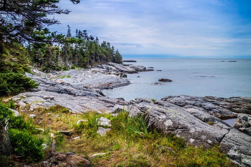 Le bel Au Haut de Duck Harbor Isle en parc national d'Acadia, Maine photos stock