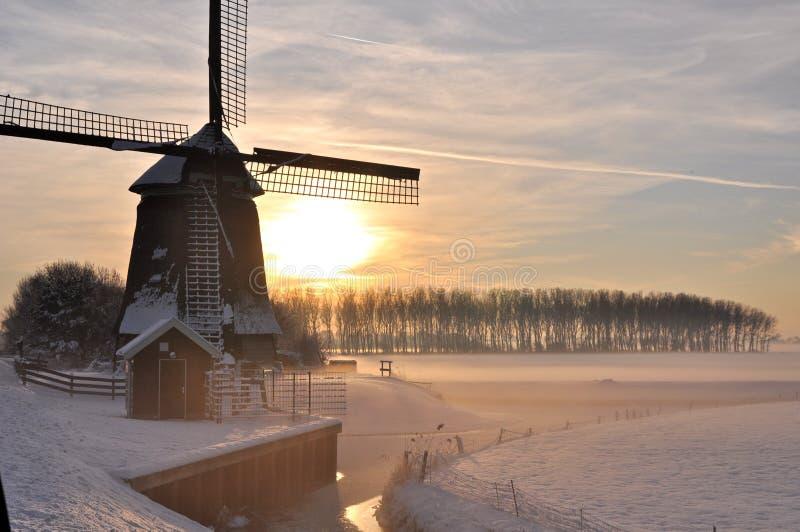 Le bel hiver en Hollande photographie stock libre de droits