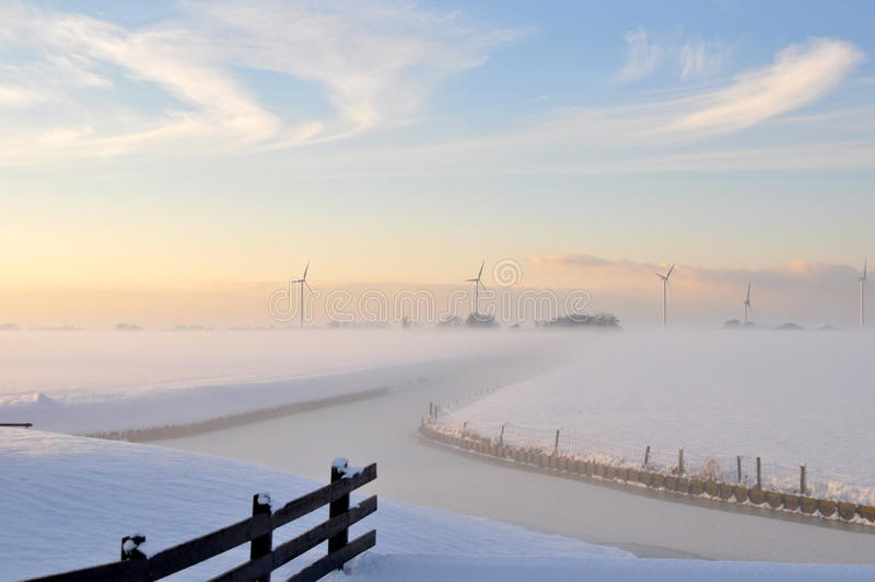 Le bel hiver en Hollande photographie stock