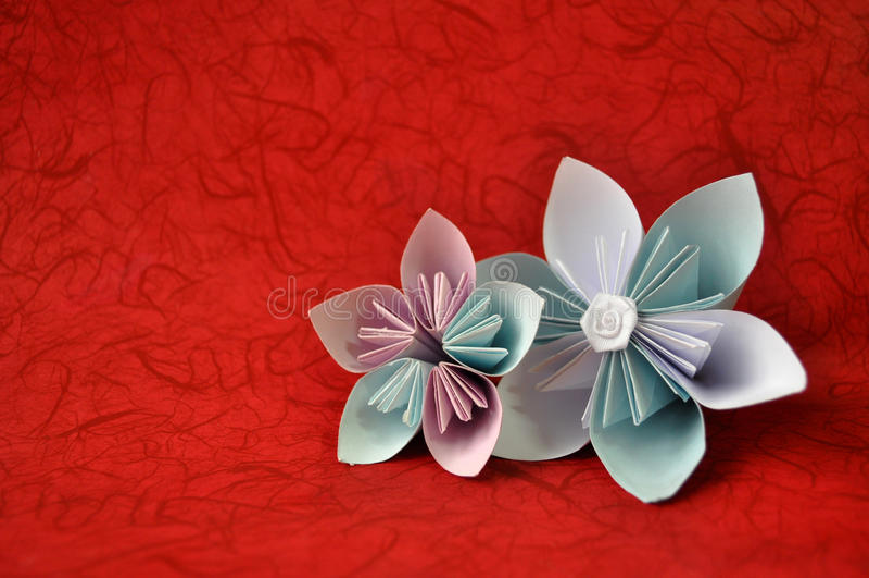 Le bel origami fleurit sur le fond/fleurs rouges d'origami/livre blanc bleu et combiné en fleurs d'origami/origami simple photo libre de droits
