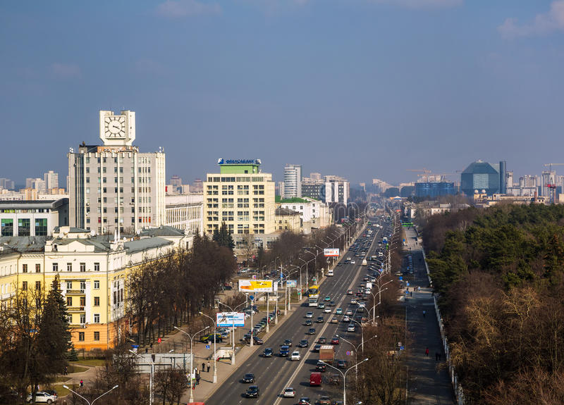 Le Belarus, Minsk, avenue de l'indépendance photographie stock