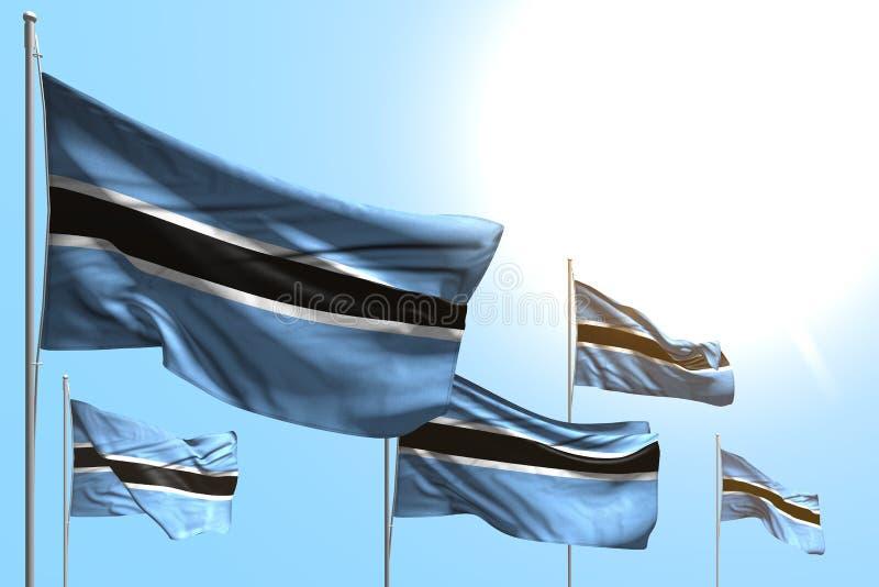Le belle 5 bandiere del Botswana sono onda sul fondo del cielo blu - tutta l'illustrazione della bandiera 3d della celebrazione royalty illustrazione gratis