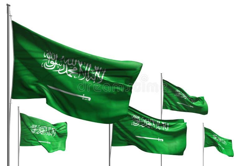 Le belle cinque bandiere dell'Arabia Saudita sono ondeggiare isolata su bianco- tutta l'illustrazione della bandiera 3d della cel royalty illustrazione gratis