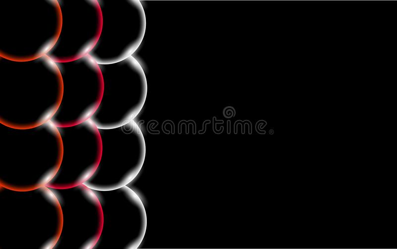 Le belle e palle semplici solide convesse brillanti astratte trasparenti multicolori, le bolle, uovo circonda con abbagliamento d royalty illustrazione gratis