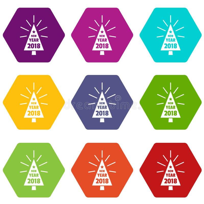 Le belle icone dell'albero di Natale hanno fissato il vettore 9 illustrazione di stock