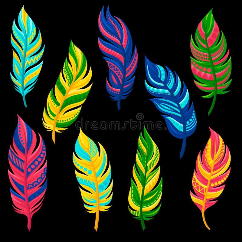 Le belle piume colorate luminose astratte hanno messo l'illustrazione di vettore su un fondo bianco illustrazione vettoriale