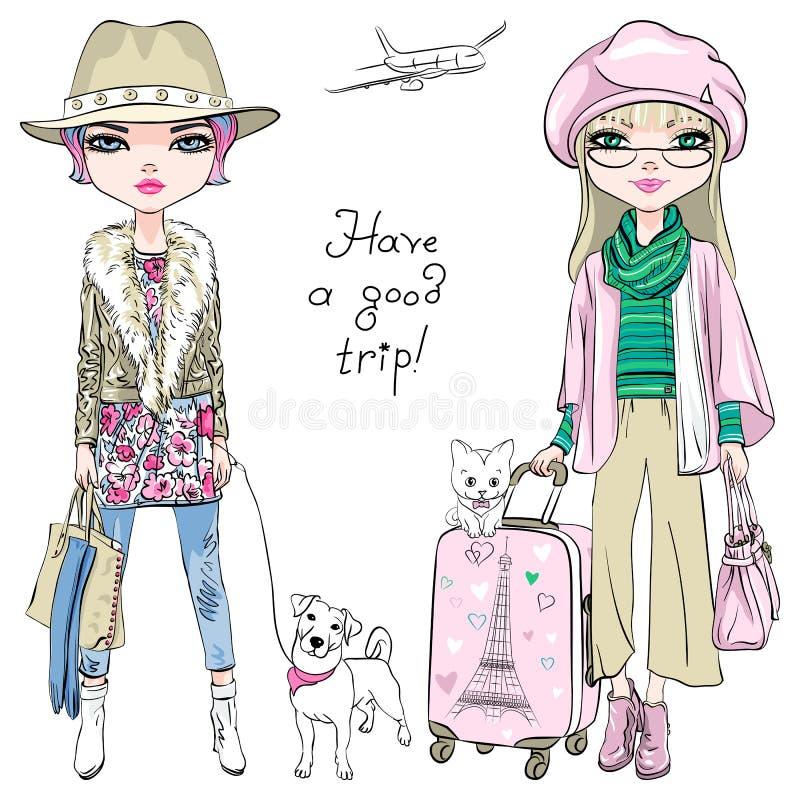 Le belle ragazze di modo di vettore viaggiano il mondo illustrazione di stock