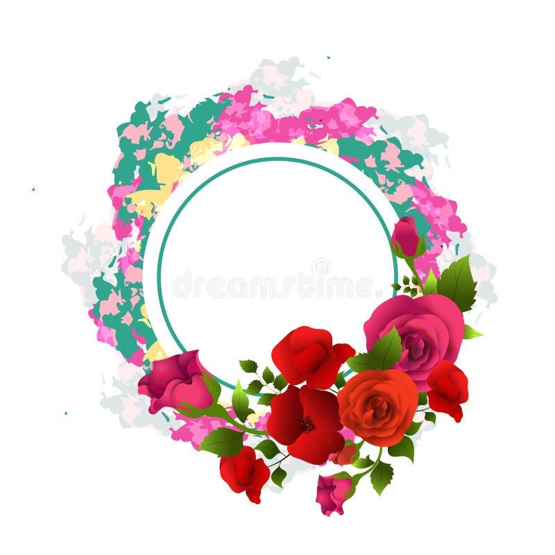 Le belle rose hanno decorato la struttura circolare royalty illustrazione gratis