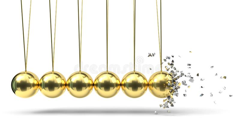 Le berceau de Newton avec des boules d'or rupture du moment illustration 3D illustration libre de droits