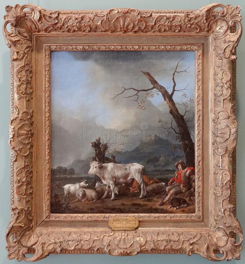 ' Le berger e hijo troupeau' , Frans Lingelbach foto de archivo