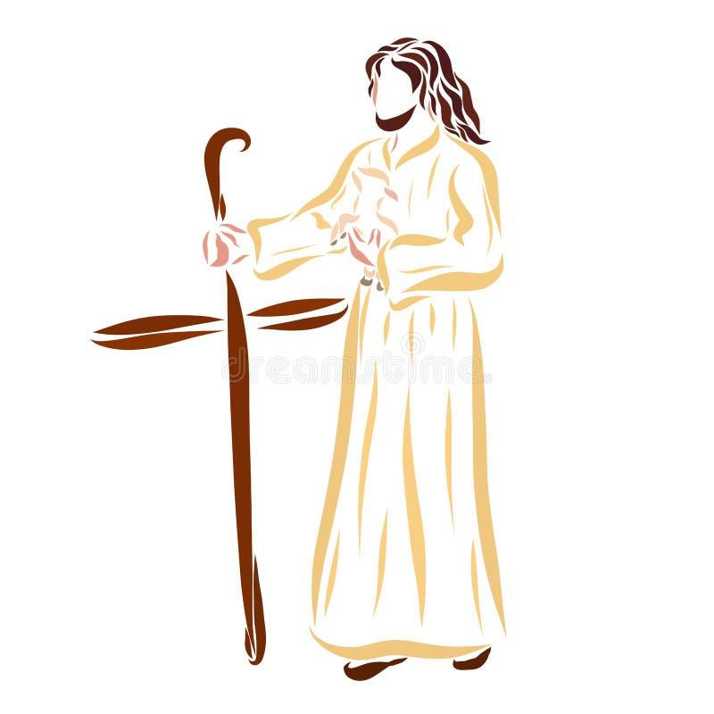 Le berger Jesus avec l'agneau dans des ses bras et le personnel croisent illustration libre de droits
