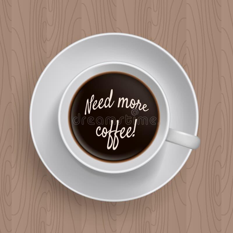 Le besoin d'inscription plus de coffe dans une tasse de café illustration libre de droits