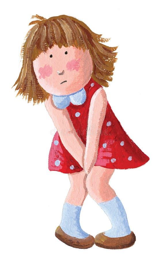 Le besoin de petite fille un pipi D'isolement sur le fond blanc illustration stock