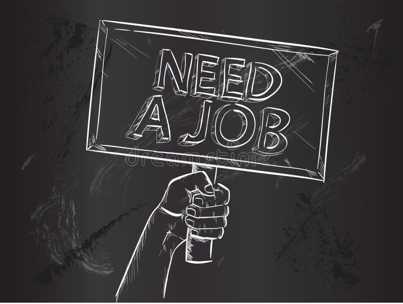 Le besoin Job Sketch sur le tableau noir illustration stock