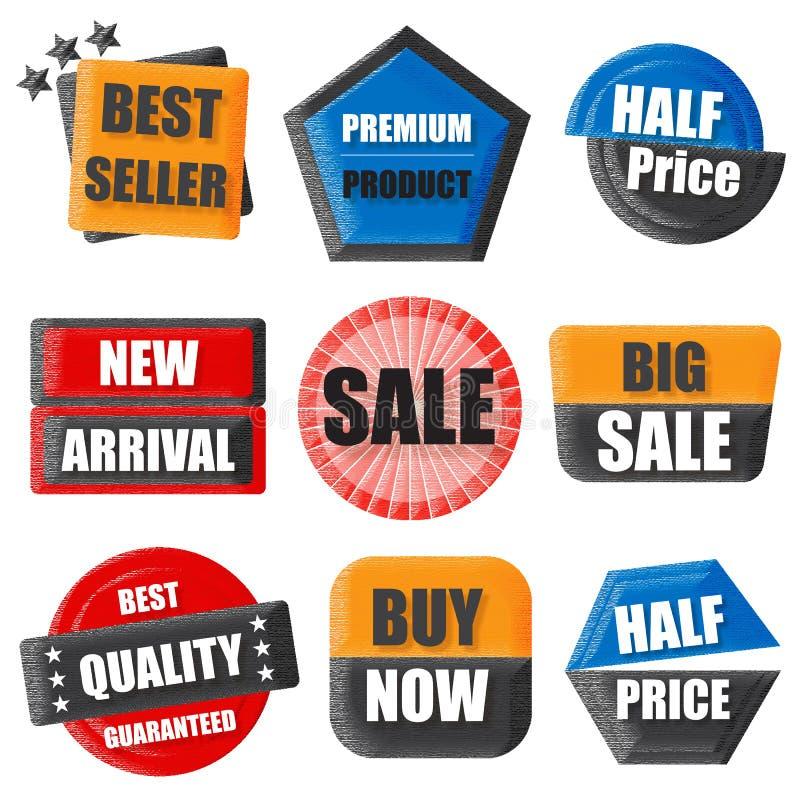 Le best-seller, produit de la meilleure qualité, demi prix, nouveau venu, vente, achat illustration libre de droits