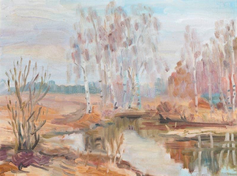 Le betulle si avvicinano al fiume royalty illustrazione gratis