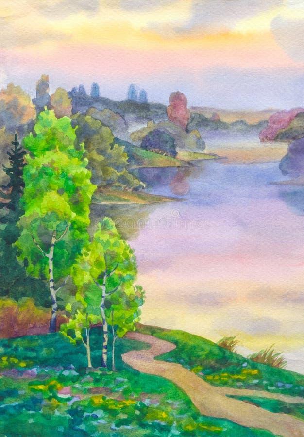 Le betulle si avvicinano al lago illustrazione vettoriale