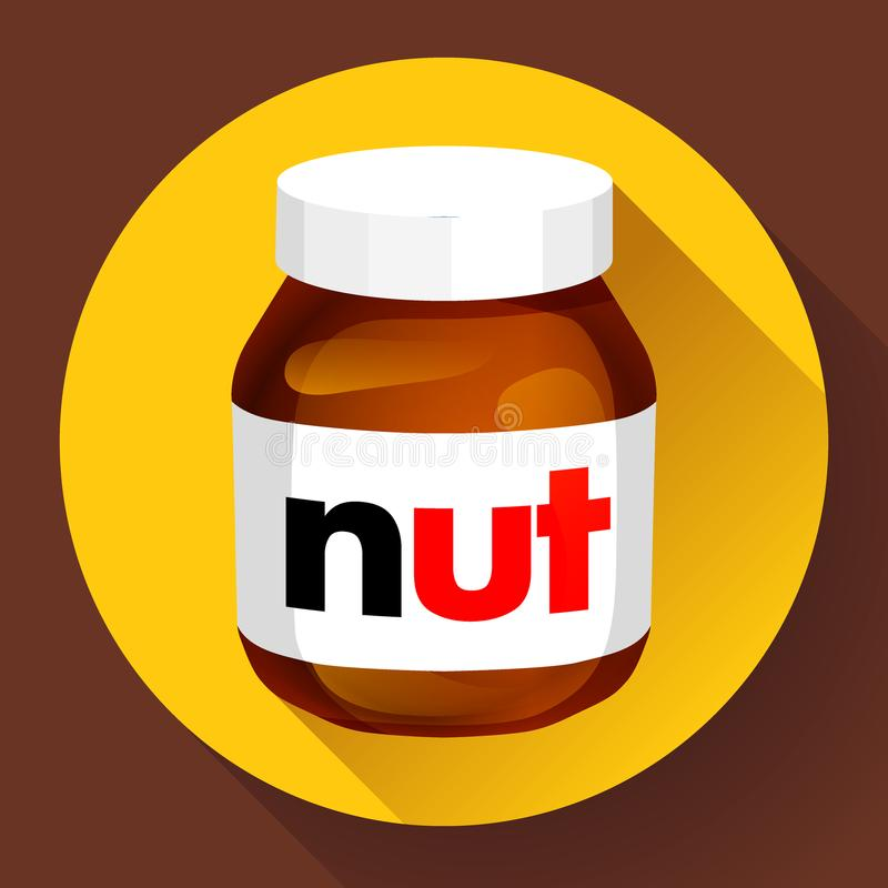 Le beurre de noisette de chocolat sucré peut icône à plat illustration libre de droits