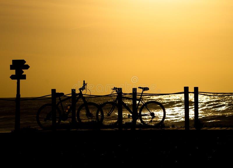 Le bici profilano al tramonto fotografia stock