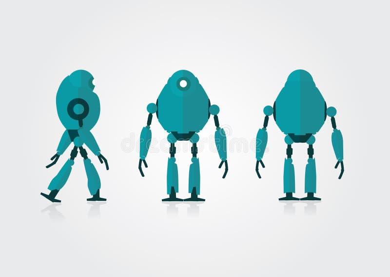 Le bien mobilier 3 regarde le robot sur le fond gris illustration libre de droits