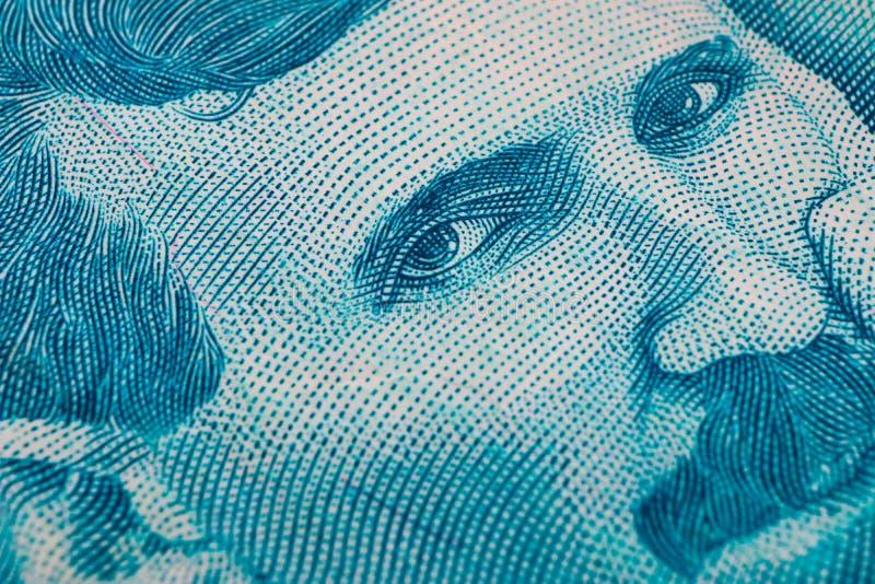 Le billet de banque serbe de devise du dinara 100, se ferment  Argent RSD de la Serbie photo libre de droits