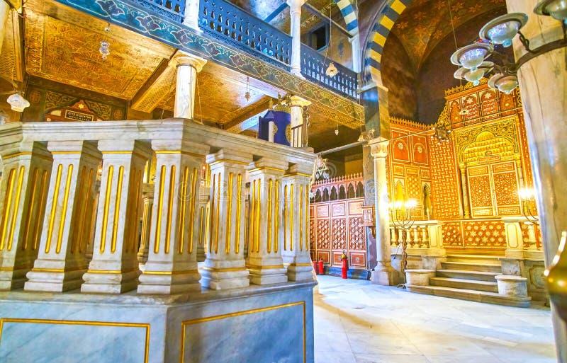 Le Bimah de marbre en Ben Ezra Synagogue au Caire, Egypte photographie stock libre de droits