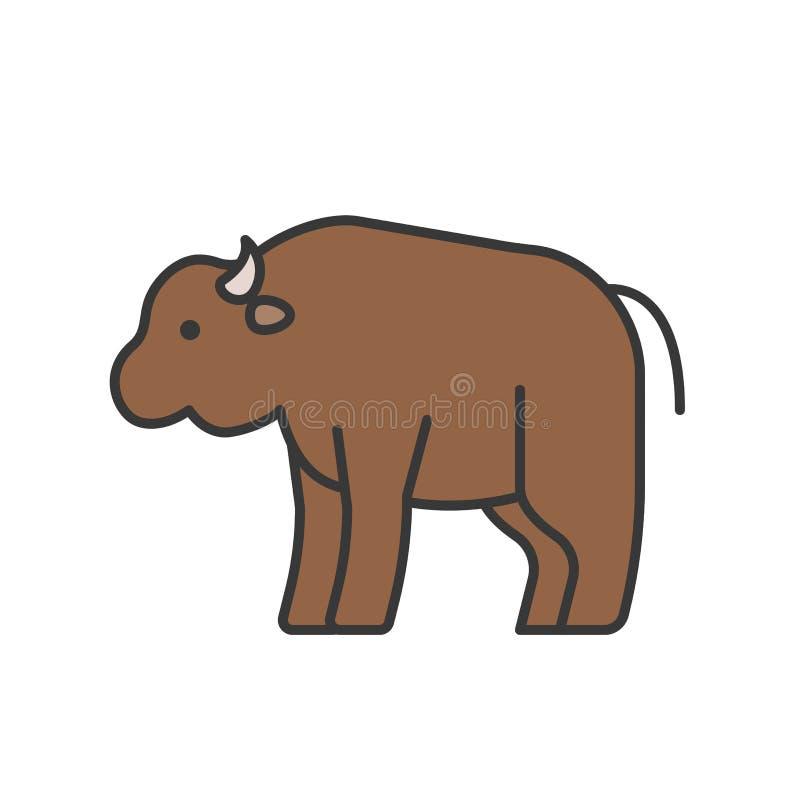 Le bison, icône animale sauvage réglée, a rempli conception d'ensemble illustration stock