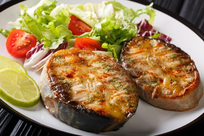 Le bistecche di recente cucinate dello storione sono servito con il primo piano dell'insalata di verdura fresca su un piatto oriz immagine stock libera da diritti